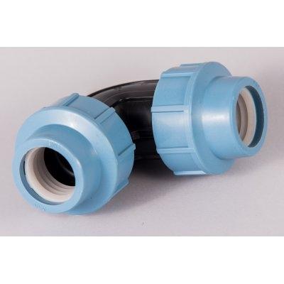 Plastová svěrná spojka - tvarovka koleno
