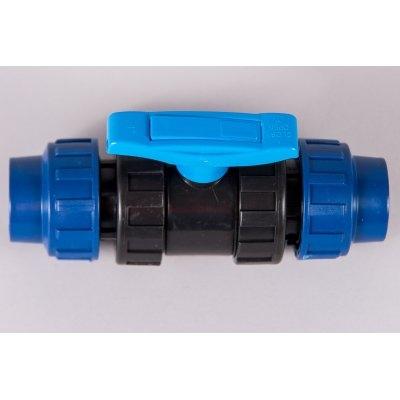Plastová svěrná spojka - tvarovka 32mm kohout kulový